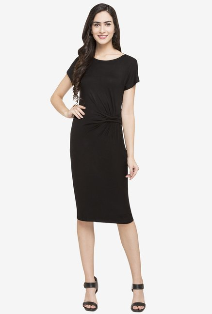 Globus Black Polyester Knee Length Dress
