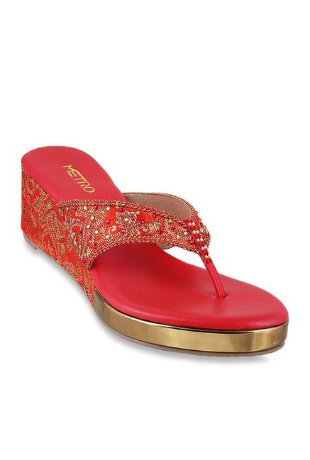 911cd6b14 Buy Metro Red Thong Wedges for Women at Best Price   Tata CLiQ