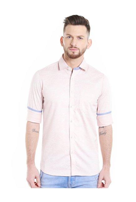 Buy Killer Peach Printed Slim Fit Shirt for Men Online   Tata CLiQ e70bc2c2d