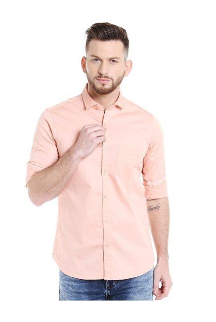 Buy Killer Orange Cotton Slim Fit Shirt for Men Online   Tata CLiQ 6d25022b1