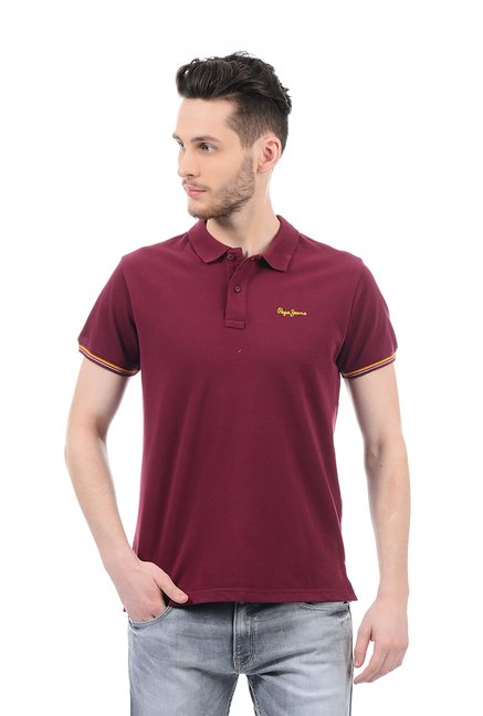 32094292 Buy Pepe Jeans Maroon Half Sleeves Polo T-Shirt for Men Online @ Tata CLiQ