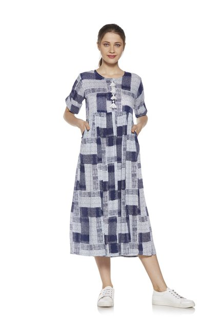 d1af837434d Buy Zudio Navy Check Printed Fit-and-Flare Dress for Women Online ...
