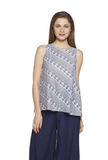 24d7e3f2c2 Buy Zudio Navy Printed Slim Fit Ethnic Top for Women Online @ Tata CLiQ