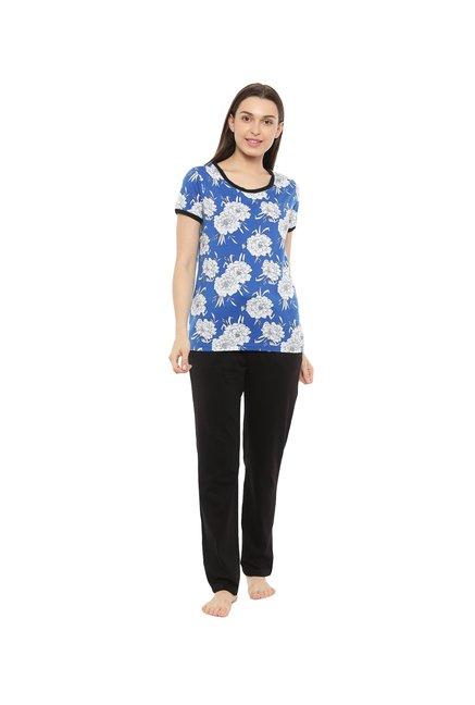 ddd6bf4f64f Buy Mystere Paris Blue   Black Floral Pyjama Sets Online At Best Price    Tata CLiQ