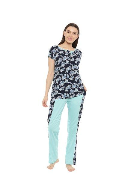 98c23260645 Buy Mystere Paris Navy   Turquoise Floral Pyjama Sets Online At ...