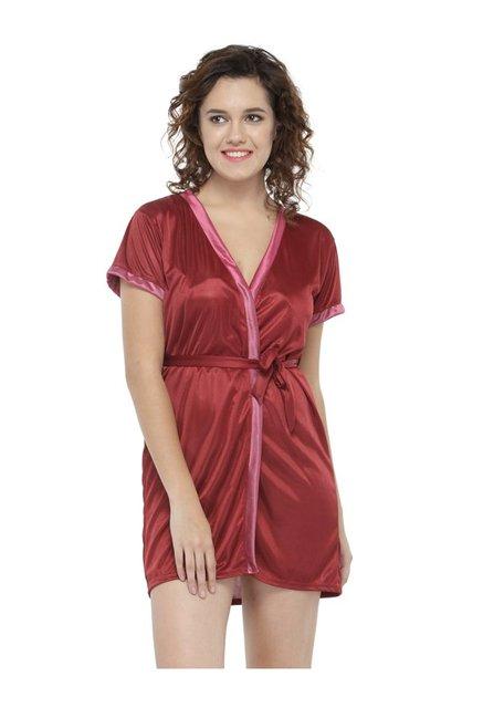 Buy N-Gal Maroon Satin Robe for Women Online   Tata CLiQ 9f50607ab