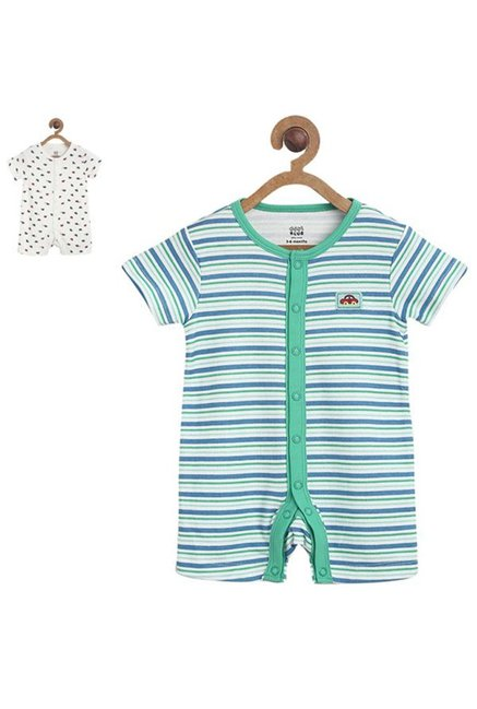 fa7b75b4235 Buy MINIKLUB Green   White Striped Romper (Pack Of 2) for Infant Boys  Clothing Online   Tata CLiQ