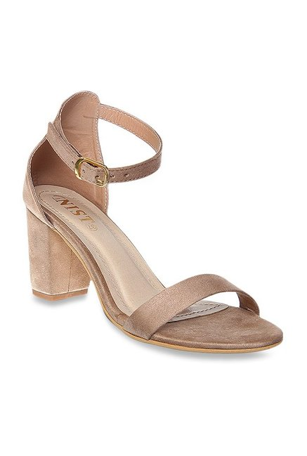 2cab5e31a469 Buy GNIST Dark Beige Ankle Strap Sandals for Women at Best Price   Tata CLiQ