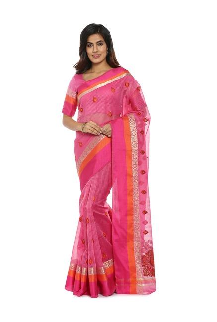 b899dd6d9e Buy Soch Pink Embroidered Cotton Saree for Women Online @ Tata CLiQ