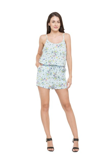 select for latest good quality new arrival Buy Globus Blue Floral Print Viscose Playsuit for Women ...