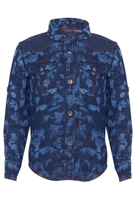 8290dd3baf Buy Tales & Stories Dark Blue Printed Shirt for Boys Clothing Online @ Tata  CLiQ