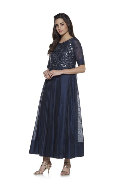 482d67caecd Buy Vark by Westside Navy Ethnic Sequin Maxi Dress for Women Online   Tata  CLiQ