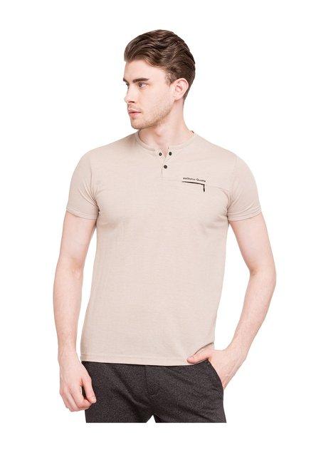 10720347 Buy Status Quo Beige Henley Neck T-Shirt for Men Online @ Tata CLiQ