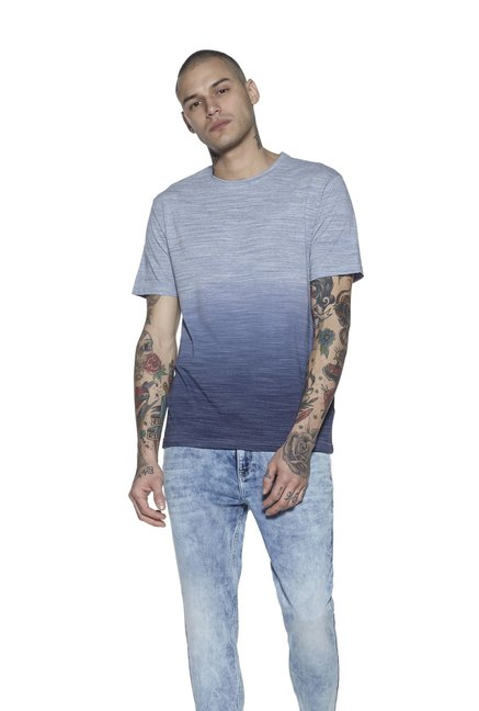 94a68e06 Buy Nuon by Westside Navy Ombre Slim Fit T-Shirt for Men Online @ Tata CLiQ