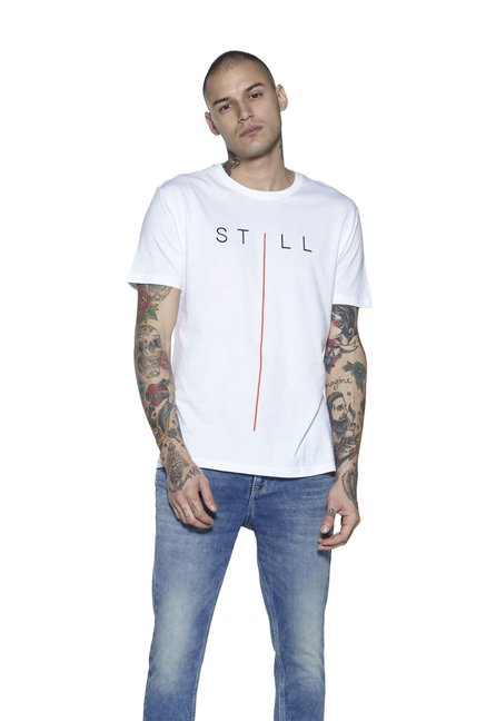 8296b32a Buy Nuon by Westside White Slim Fit T-Shirt for Men Online @ Tata CLiQ