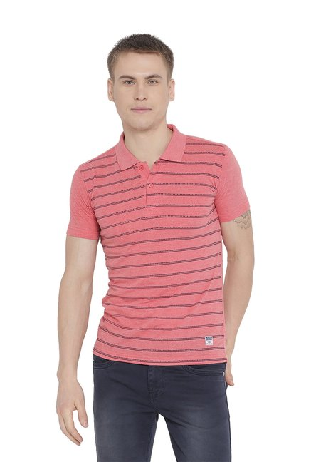 4f2f90a7 Buy Duke Pink Regular Fit Striped Polo T-Shirt for Men Online @ Tata ...