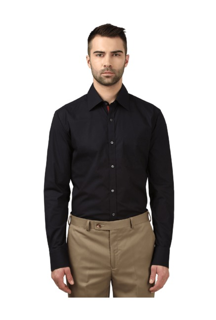 abf3c598c Buy Park Avenue Black Slim Fit Cotton Shirt for Men Online   Tata CLiQ