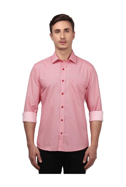 Buy ColorPlus Medium Red Slim Fit Cotton Shirt for Men Online   Tata CLiQ 595aa63cf