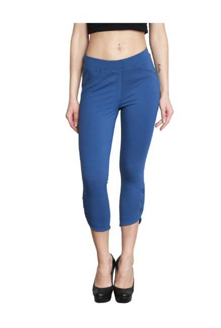 001064dac1409 Buy Westwood Blue Cotton Lycra Capris for Women Online @ Tata CLiQ