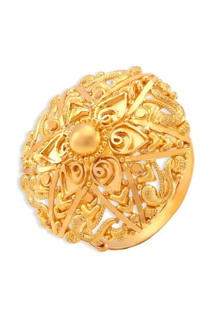 ba50a07d0615e Buy Tanishq Floral 22 kt Gold Ring Online At Best Price @ Tata CLiQ