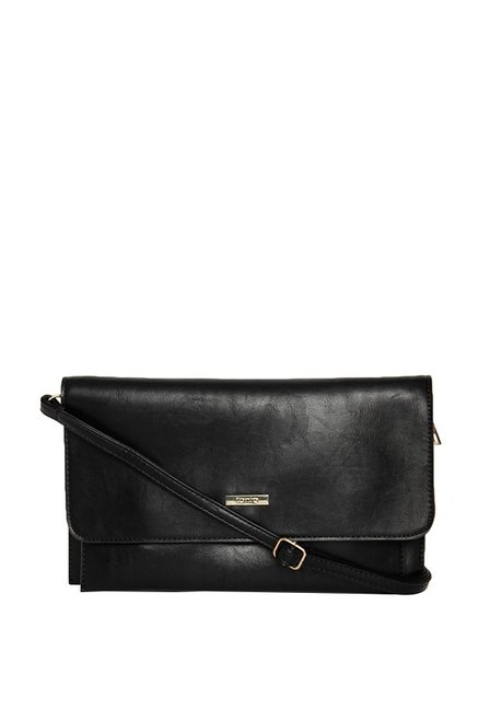 ToniQ Black Solid Flap Sling Bag