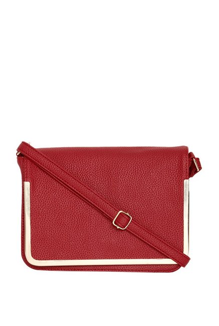 ToniQ Maroon Solid Flap Sling Bag