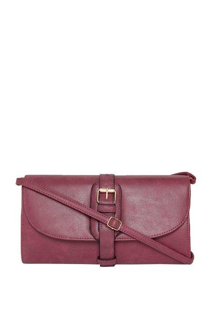 ToniQ Maroon Solid Flap Sling Bag