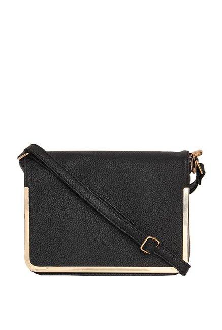 ToniQ Black Solid Flap Sling Bag