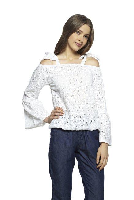 785bddbef32e3a Buy Zudio White Sheryl Cold-shoulder Top for Women Online   Tata ...