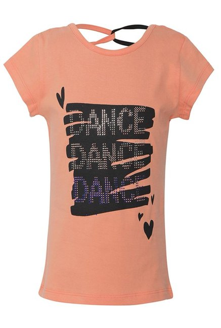 56016dce595 Buy Punkster Peach Embellished Cotton Top for Girls Clothing Online   Tata  CLiQ