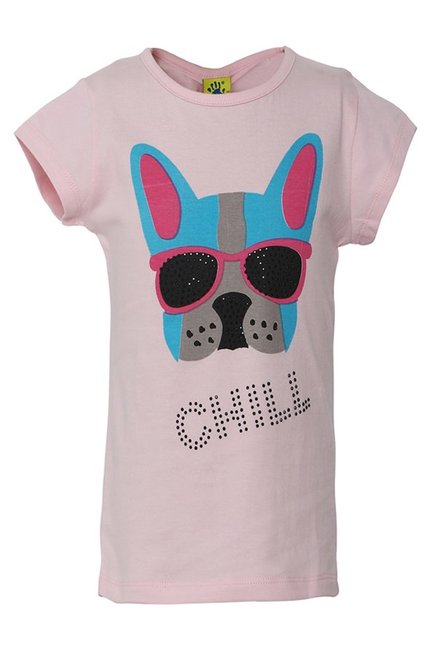 f509d5cfd25 Buy Punkster Baby Pink Embellished Cotton Top for Girls Clothing Online    Tata CLiQ