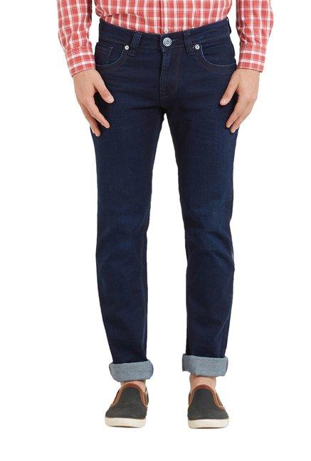 c548b491 Buy Lawman Dark Blue Cotton Mid Rise Slim Fit Jeans for Men Online @ Tata  CLiQ