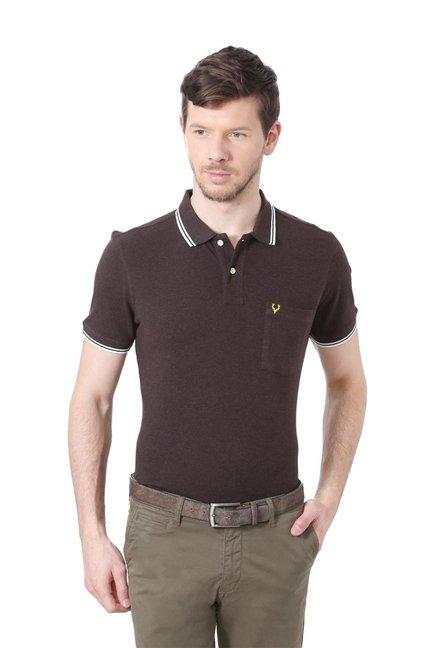 0b6d90956873 Buy Allen Solly Dark Brown Cotton Polo T-shirt for Men Online @ Tata CLiQ