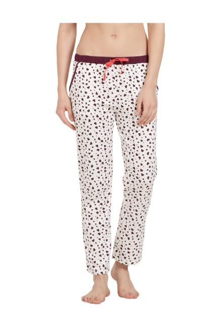Buy Soie White   Purple Heart Print Cotton Pyjamas for Women ... ac8d90f691
