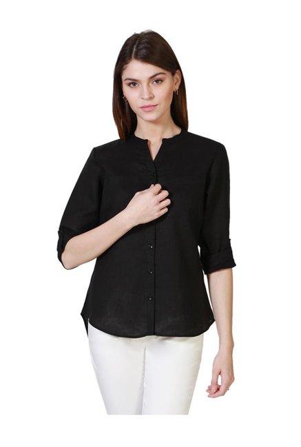 d8b81464eac Buy Solly by Allen Solly Black Linen Shirt for Women Online   Tata ...