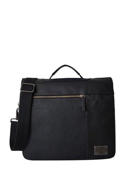 21d37266f Buy Baggit Gunther Bindas Black Solid Flap Messenger Bag For Men ...