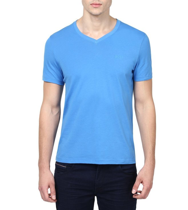 Boss Blue Slim-Fit Cotton T-Shirt 'Teal 11'