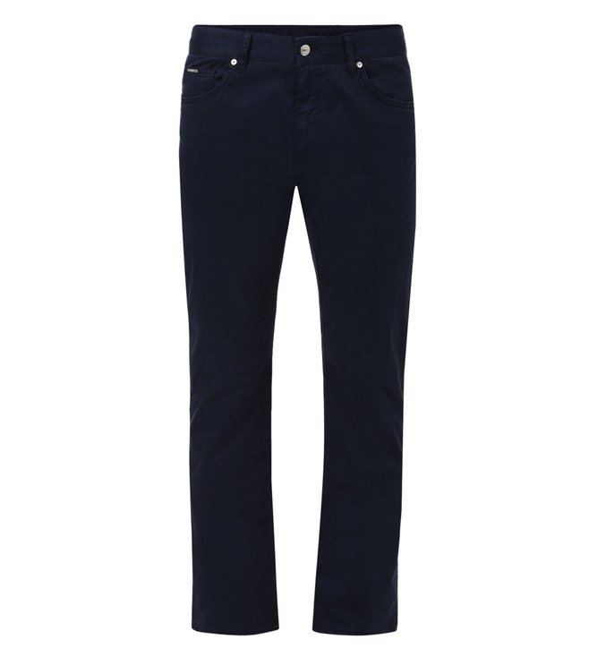 Boss Dark Blue Regular Fit Solid Jeans 'Maine3-20'