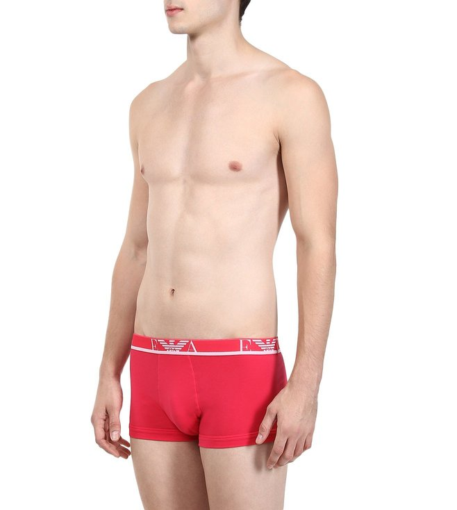 Emporio Armani Black & Magenta Trunks (Pack Of 2)