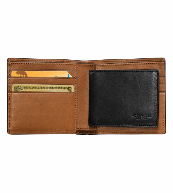 Coach Black Rip And Repair Compact Wallet