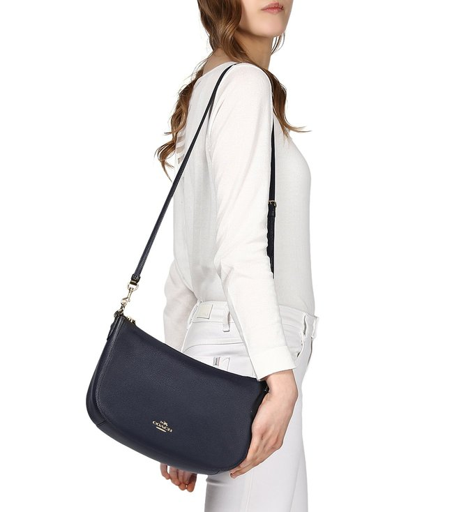 Coach Navy Polished Pebble Leather Chelsea Crossbody Bag