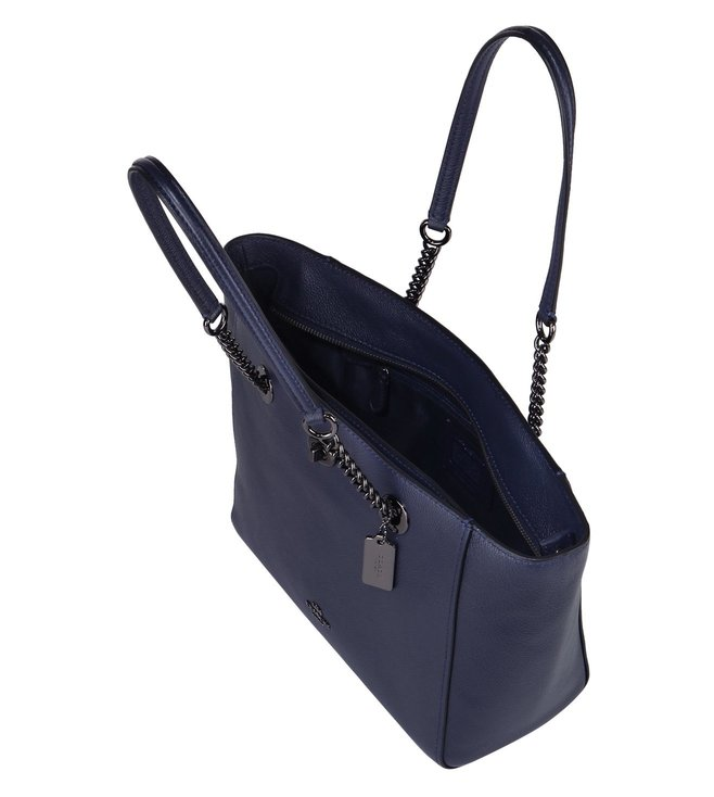 340222b53 Buy Coach Navy Polished Pebble Turnlock Chain Tote Bag for Women ...