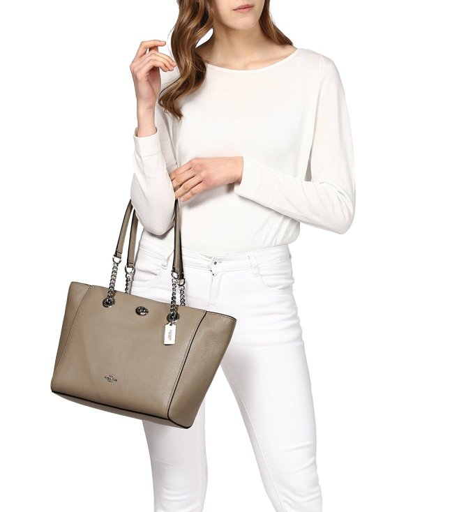 142af1e946d3 Buy Coach Stone Polished Pebble Turnlock Chain Tote Bag for Women ...