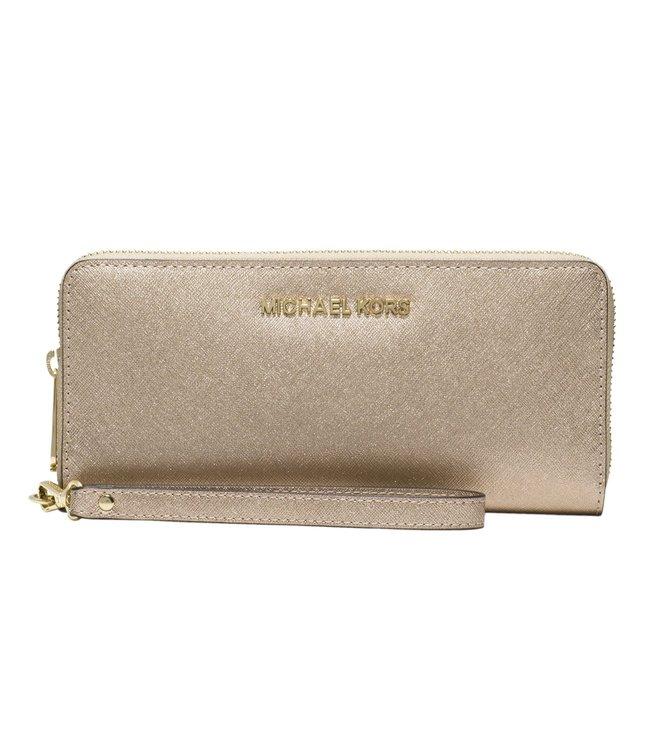 b557d855da77 Buy Michael Michael Kors Jet Set Travel Pale Gold Wallet for Women ...