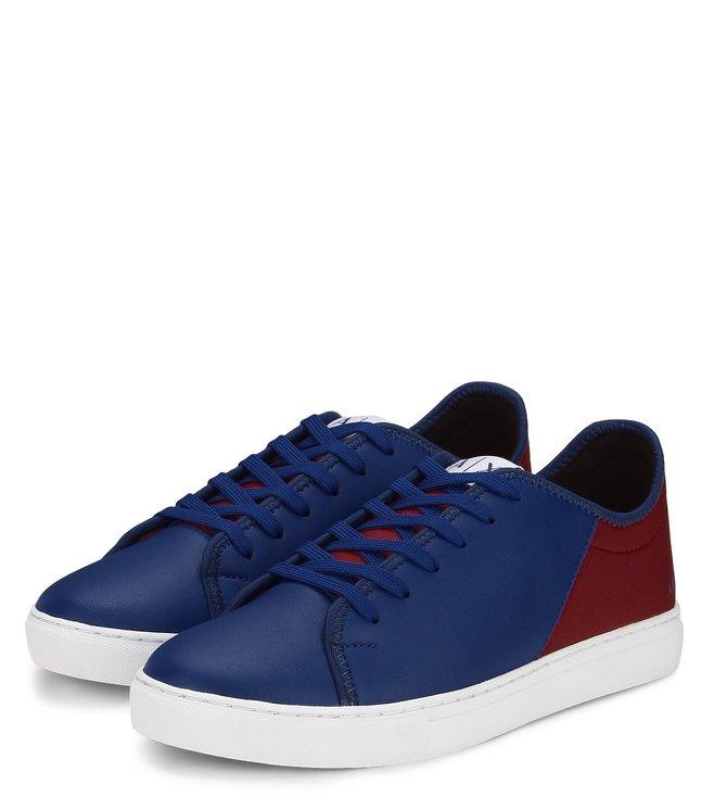 Armani Exchange Lycra PU Lace Deep Blue Sneakers