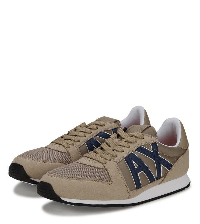 Armani Exchange Retro Running Khaki Sneakers