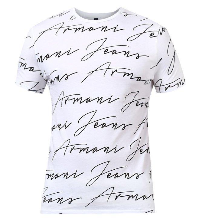 b26fbb71 Buy Armani Jeans Bianco Ottico Slim Fit T Shirt for Men Online ...