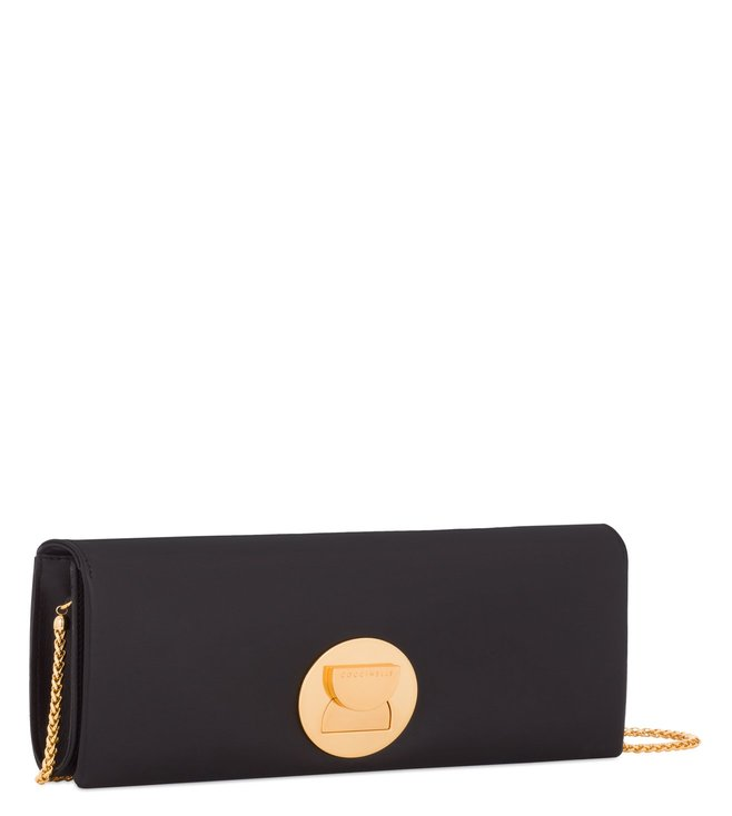 Coccinelle Michelle Lock Nero Leather Clutch