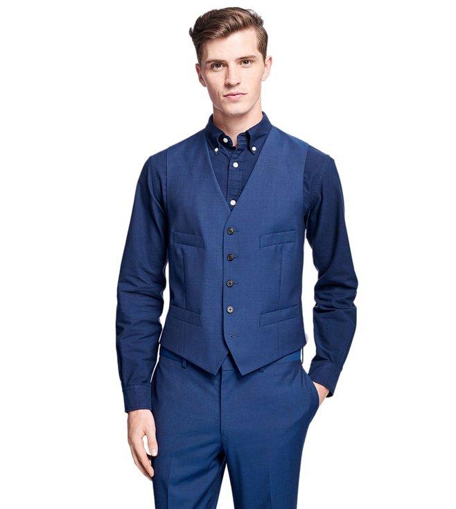 14b298ebe9 Buy Brooks Brothers Red Fleece Blue Stretch Wool Vest for Men Online ...