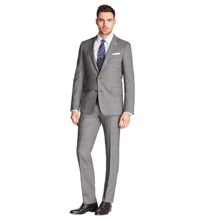 3c7bfc0983 Buy Brooks Brothers Grey Neat Regent Fit 1818 Suit for Men Online ...
